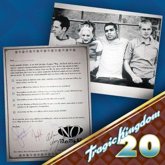 Check out this humorous mailer No Doubt sent out to their fans while on the Tragic Kingdom tour. It was also signed by the band members as well. The photo on the back of the letter is considered rare as well as it wasn't used in promotional or other public material. #tragickingdom20 #tk20