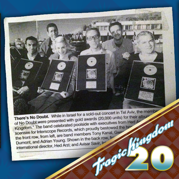 The celebration continues! Check out this rad press clipping that shows the band receiving one of MANY awards for Tragic Kingdom's success! #tragickingdom20 #tk20