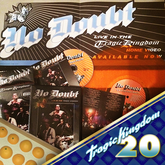 With the success of Tragic Kingdom, No Doubt embarked on a 2 year world tour! Live in the Tragic Kingdom was filmed at the Arrowhead Pond of Anaheim and released to VHS video in November 1997. The VHS was also part of the bands #orangecrate boxset. In 2003 the video was released on DVD as a part of the bands Boom Box box set. It was later released in 2006 as its own DVD release. #tragickingdom20