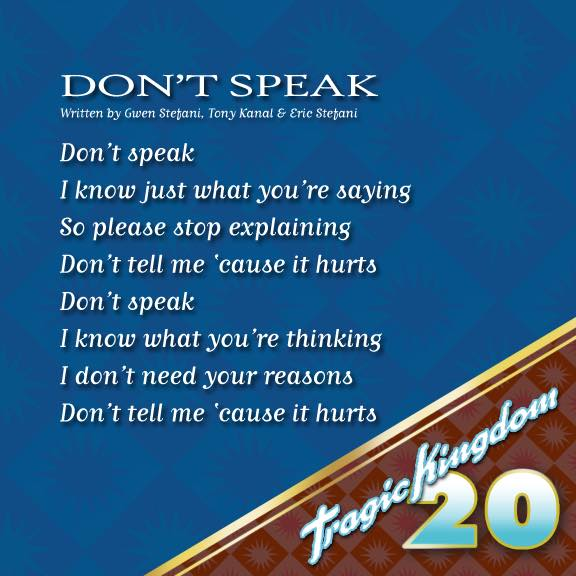 One of No Doubt's biggest singles to date that transcended every language barrier in the world, #dontspeak is a classic from #tragickingdom that will forever be praised by fans and music lovers. How many of you remember the first time you heard this hit? #nodoubt #tragickingdom20