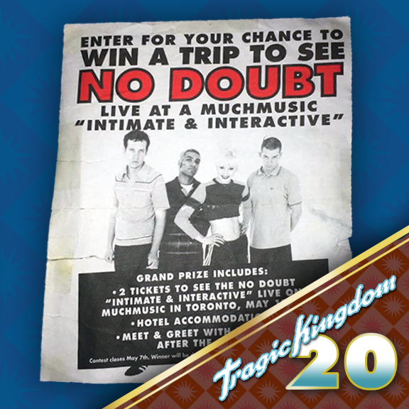 "On their May 1997 stop in Toronto, Canada for their Tragic Kingdom tour, No Doubt also put on a show for Muchmusic's Intimate and Interactive. This was a TV program that was televised worldwide and was the first to show off ""video calling via the internet."" This was a pretty big breakthrough in technology. Intimate and Interactive, in short was a live concert for TV along with some interviews as well. The studio was dressed with prop orange trees emulating the Tragic Kingdom tour's set."